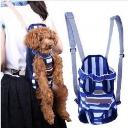 Porte chien rayé bleu taille L